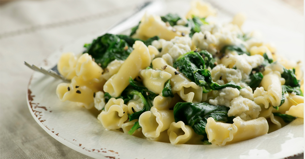 Pasta with Blue Cheese Spinach Sauce - Framed Cooks