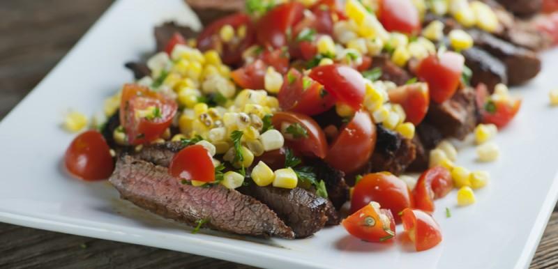 spicy steak with corn salsa