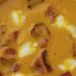 Pumpkin Soup with Bacon and Blue Cheese