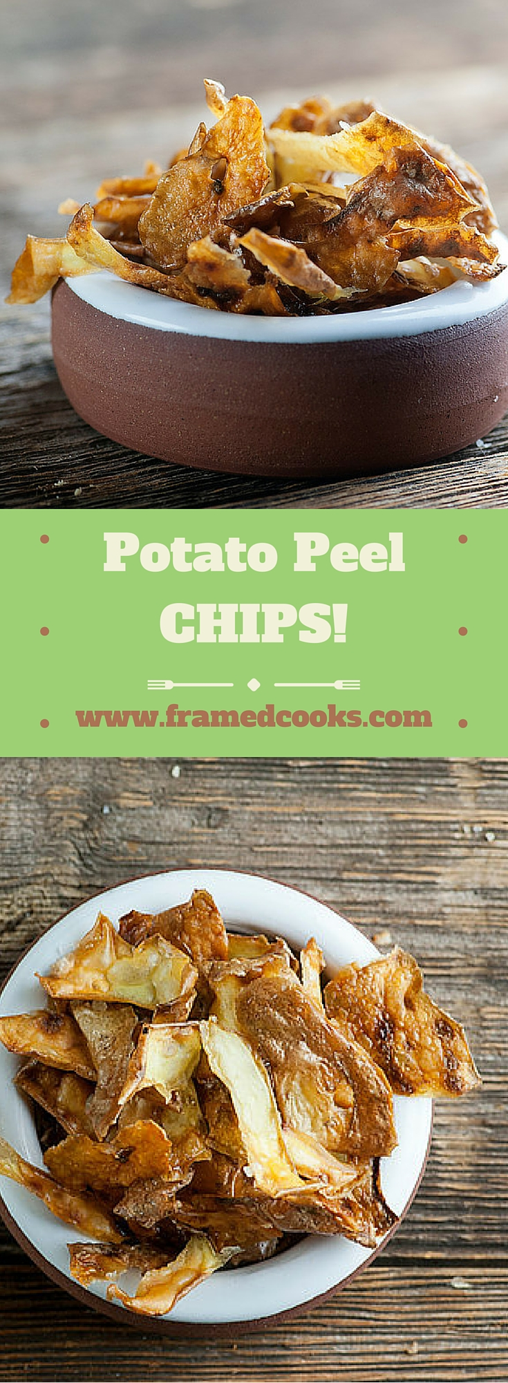 Once you make this recipe for potato peel chips you will never toss those peelings out again!