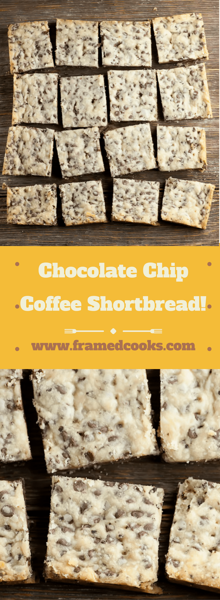 This recipe for chocolate chip coffee shortbread is a must for your holiday baking list!  And don't forget to make a second batch for yourself!