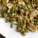 Cauliflower with Brown Butter Pumpkin Seed Lime Sauce