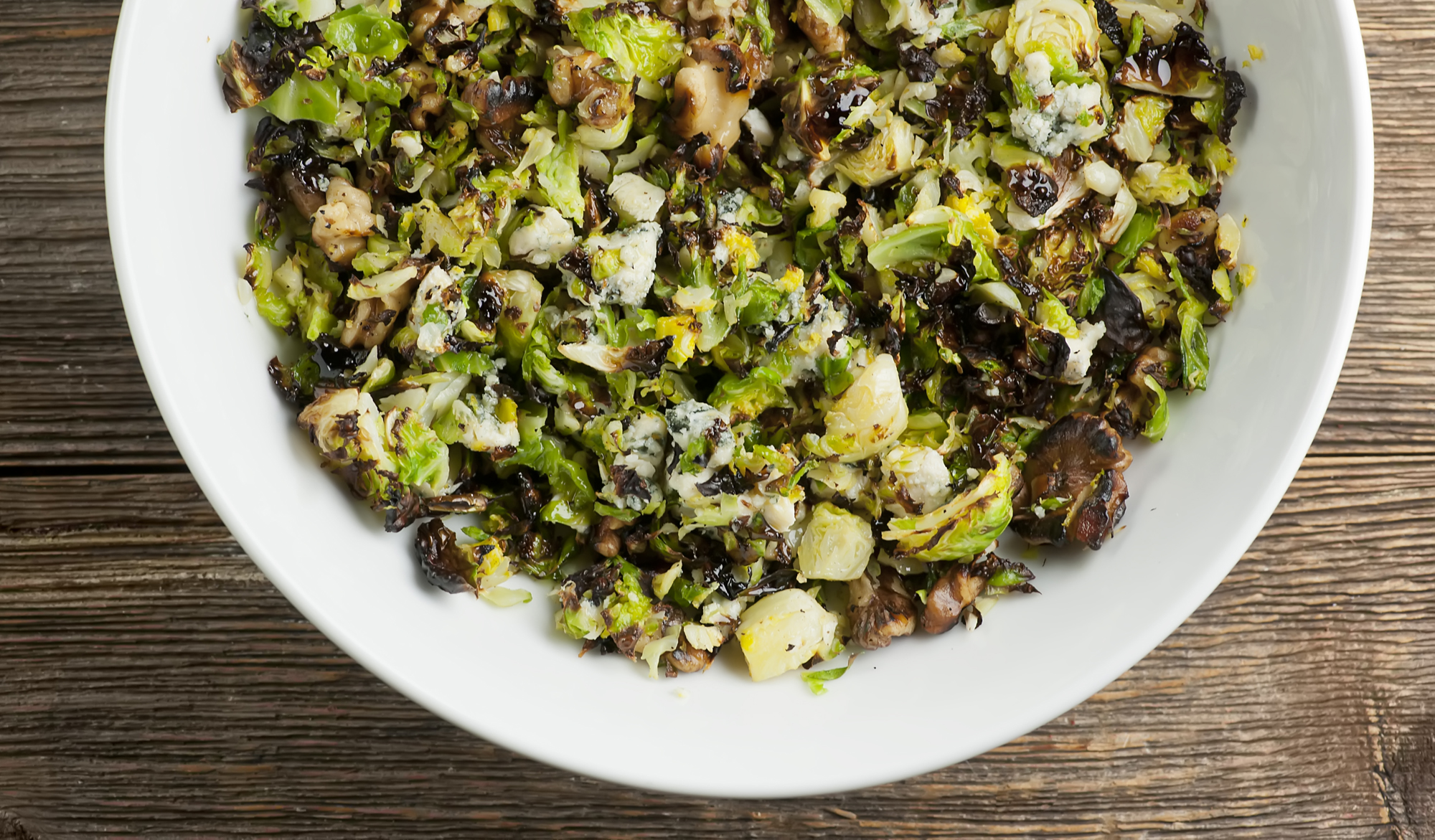 chopped brussels sprouts with feta