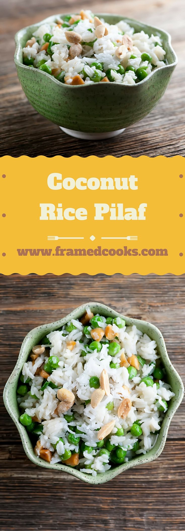 Jazz up your rice with this easy recipe for coconut rice pilaf, fill with peas and peanuts and creamy coconut flavor. A great side dish!