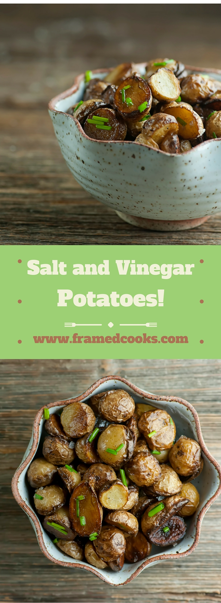 Love vinegar and salt potato chips?  Then this recipe for vinegar salt baby potatoes is about to be your new favorite side dish.