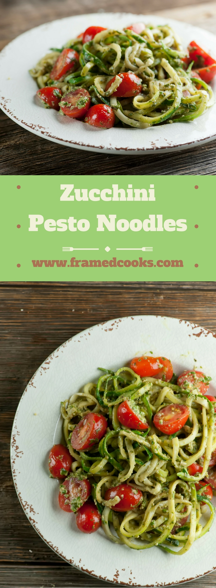 Add some pesto and tomatoes to your zucchini noodles and you will never miss the pasta!  The perfect summer supper.