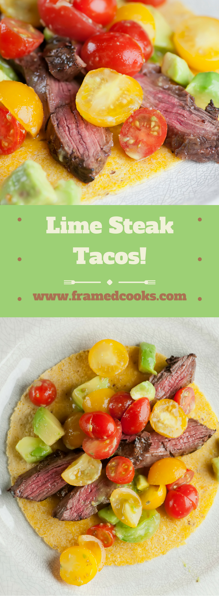 This recipe for lime steak tacos gives your supper a great citrus taste! Avocado and cherry tomatoes round out the meal for a colorful lunch or dinner.