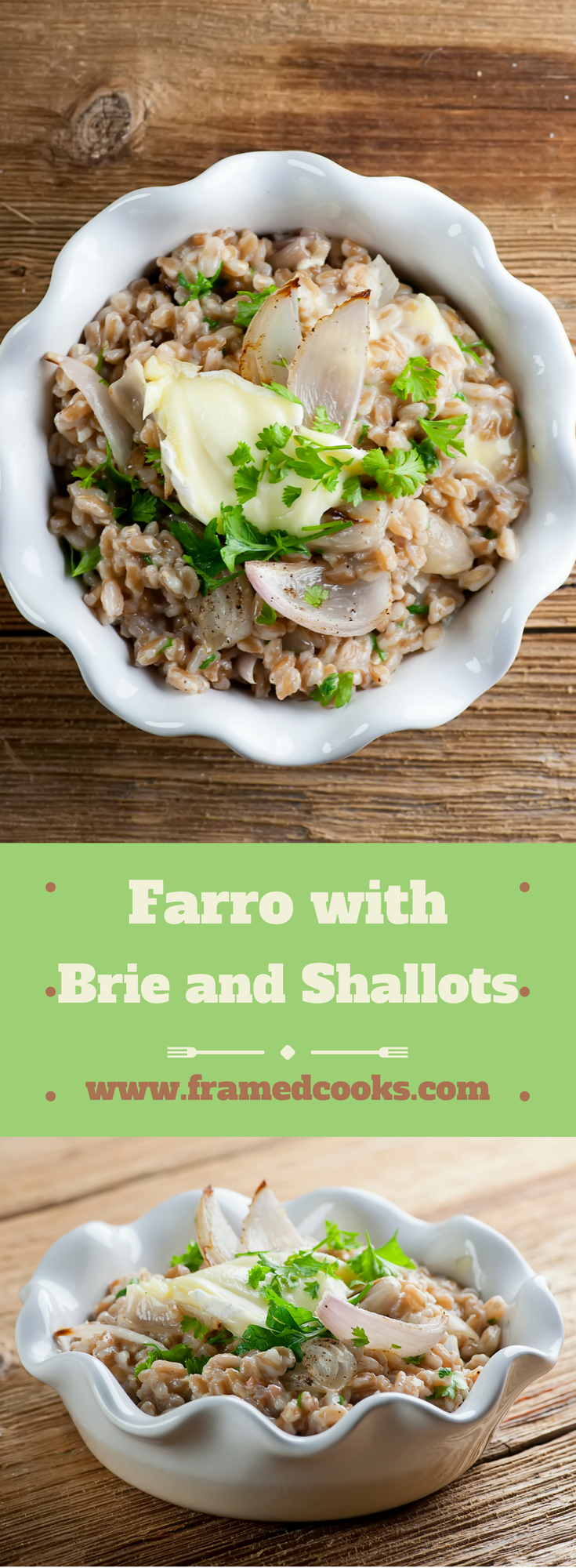 This recipe for a farro bowl with brie and shallots is an easy and elegant comfort food!