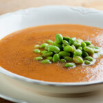 Roasted Tomato and Edamame Soup