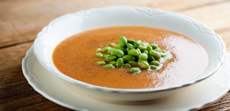 Roasted Tomato and Edamame Soup