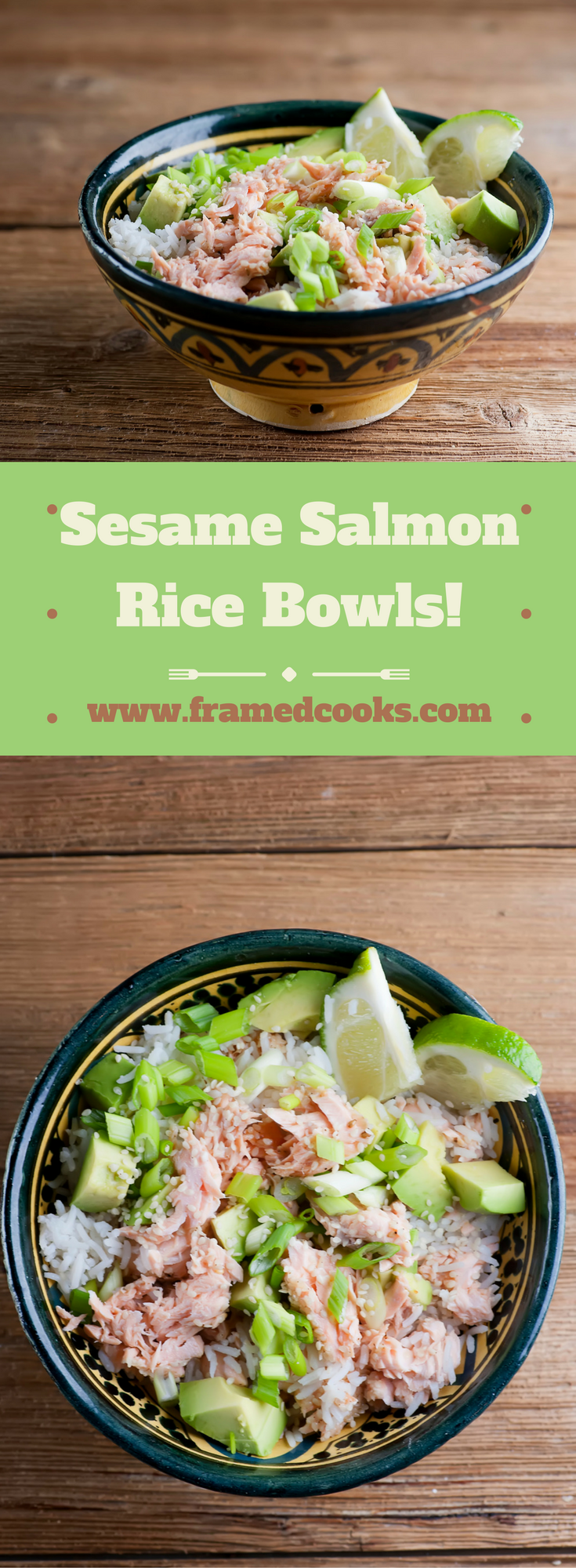 This quick and easy recipe for sesame salmon rice bowls is comfort food at its healthy best!