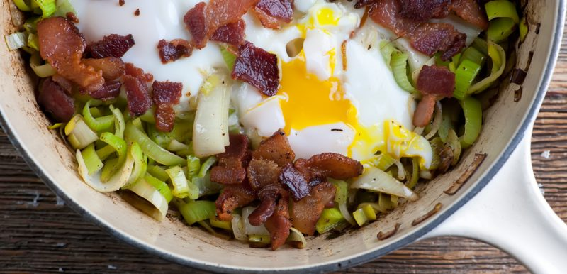 Bacon and Eggs with Leeks