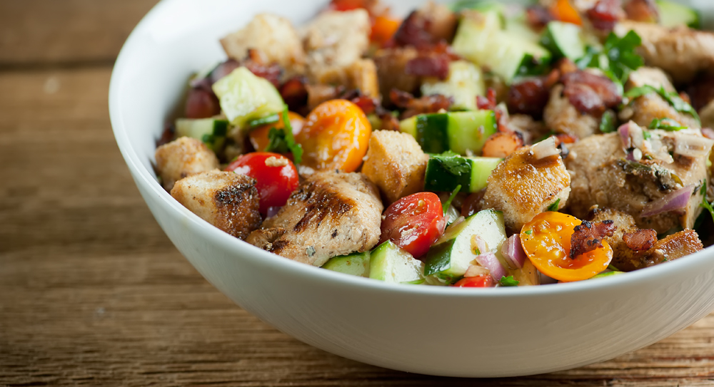 Chicken and Bacon Panzanella Salad