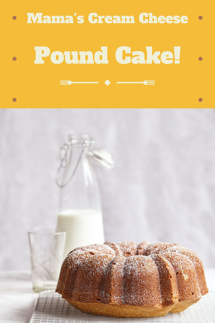 This easy, comforting recipe for Mama's cream cheese pound cake is sure to be a family favorite!  With thanks to the wonderful Robyn at Add A Pinch!