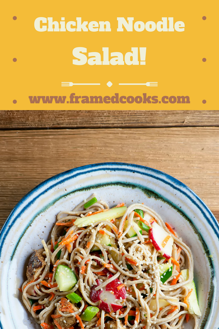 Toss shredded chicken and fresh veggies with soba noodles for a quick and satisfying salad!