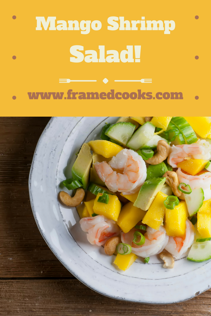 Shrimp, mango and a quick honey mustard dressing make the perfect quick and healthy lunch salad!