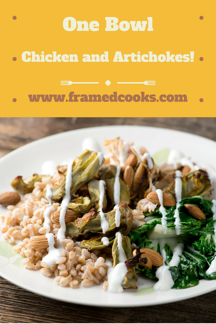 This toss together recipe of chicken, roasted artichokes and farro is the perfect one bowl supper!