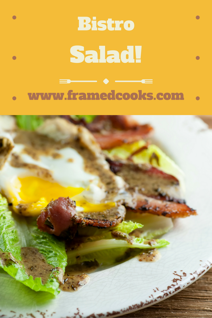 Bistro salad is a simple but glorious combo of bacon, egg, lettuce and your favorite vinaigrette, with a little bread and cheese.  Easy and elegant!