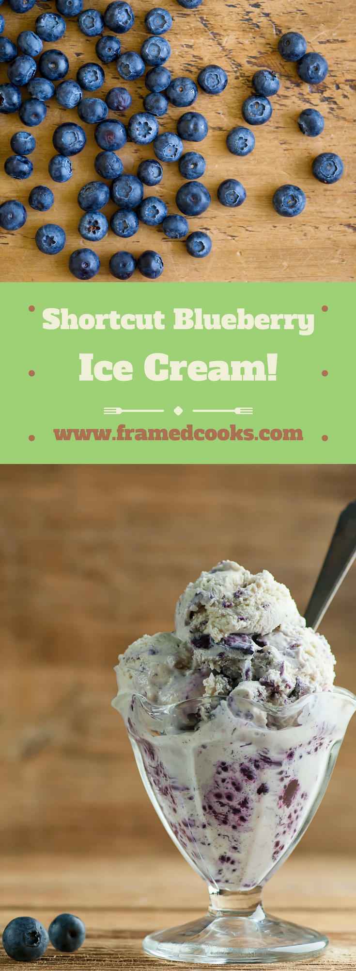 This easy recipe for shortcut blueberry ice cream is as easy as your favorite vanilla ice cream, some blueberry jam, and a little time in the freezer.
