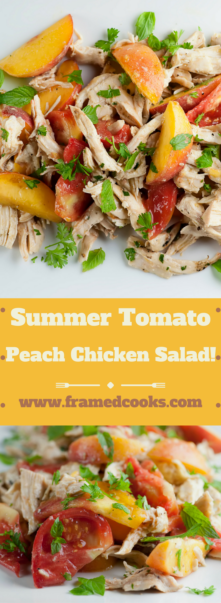 This easy recipe for summer tomato peach chicken salad uses fresh herbs and a light dressing to make this the perfect warm weather meal.