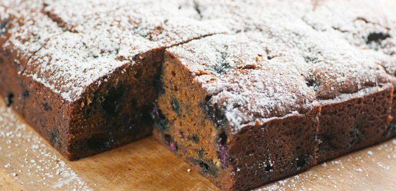 Blueberry Molasses Snack Cake