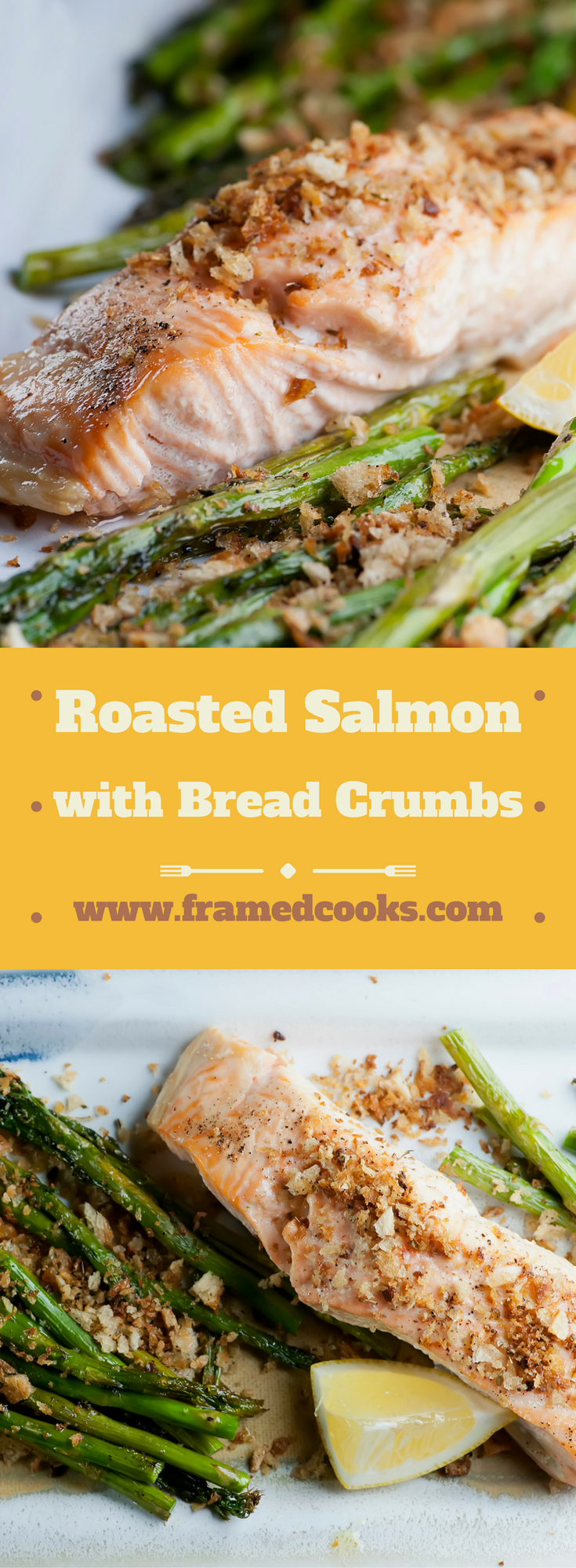 This easy recipe for salmon with toasted bread crumbs and asparagus cooks up in no time all in one pan for a delicious healthy supper!
