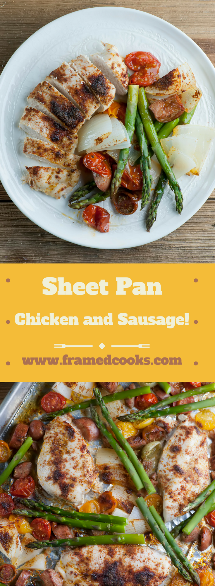 This quick recipe for spicy sheet pan chicken and sausage features cherry tomatoes, asparagus and spices, all on one easy to clean up pan!