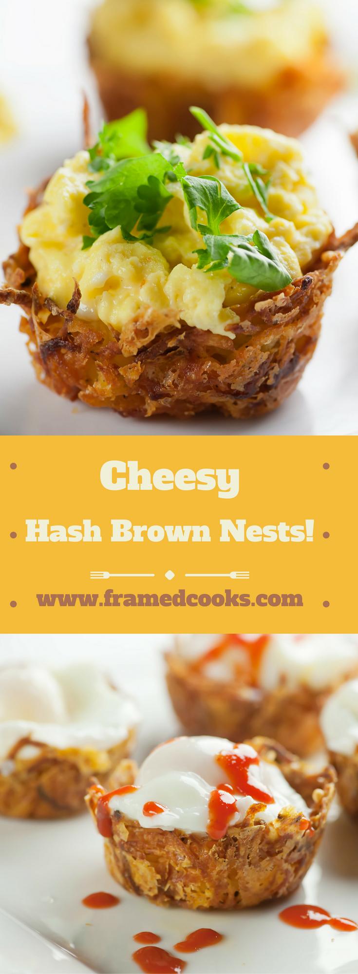 This easy recipe for cheesy hash brown nests is a fun way to serve poached, soft boiled and scrambled eggs.  And they are great for barbecue, too!
