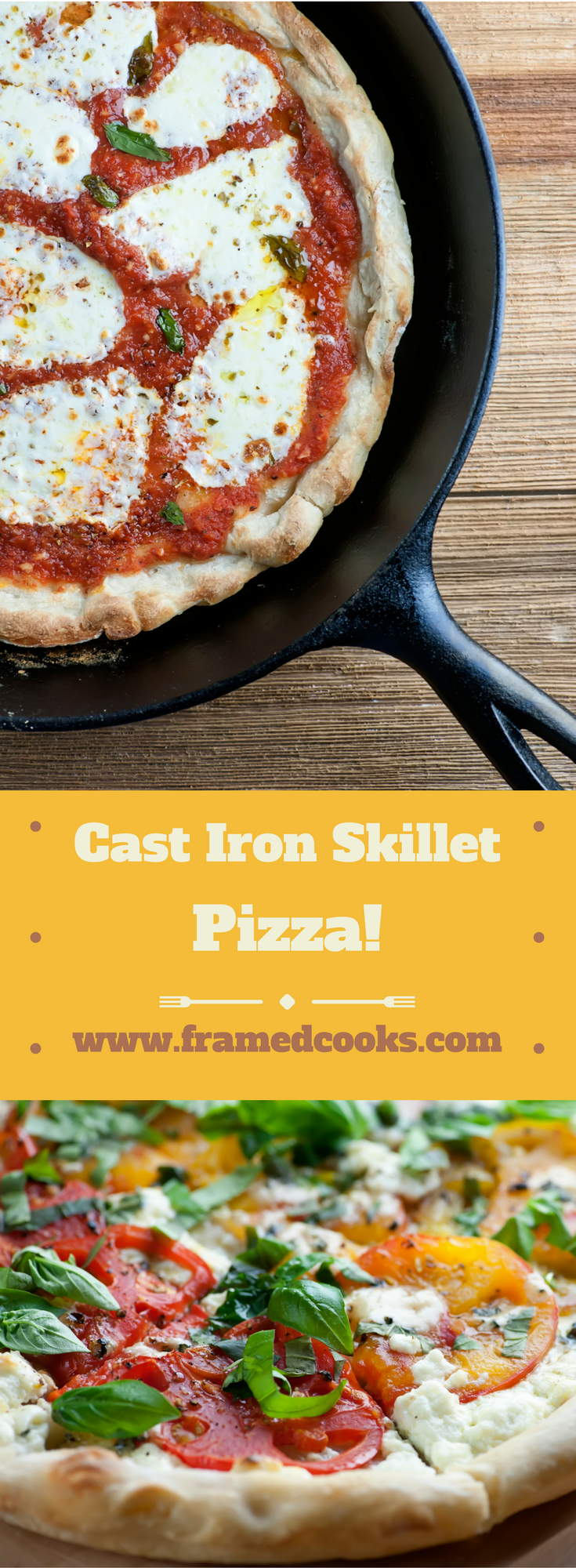 Cast iron skillet pizza can be customized all different ways with this easy recipe.  From classic tomato and cheese to anything you can dream up!