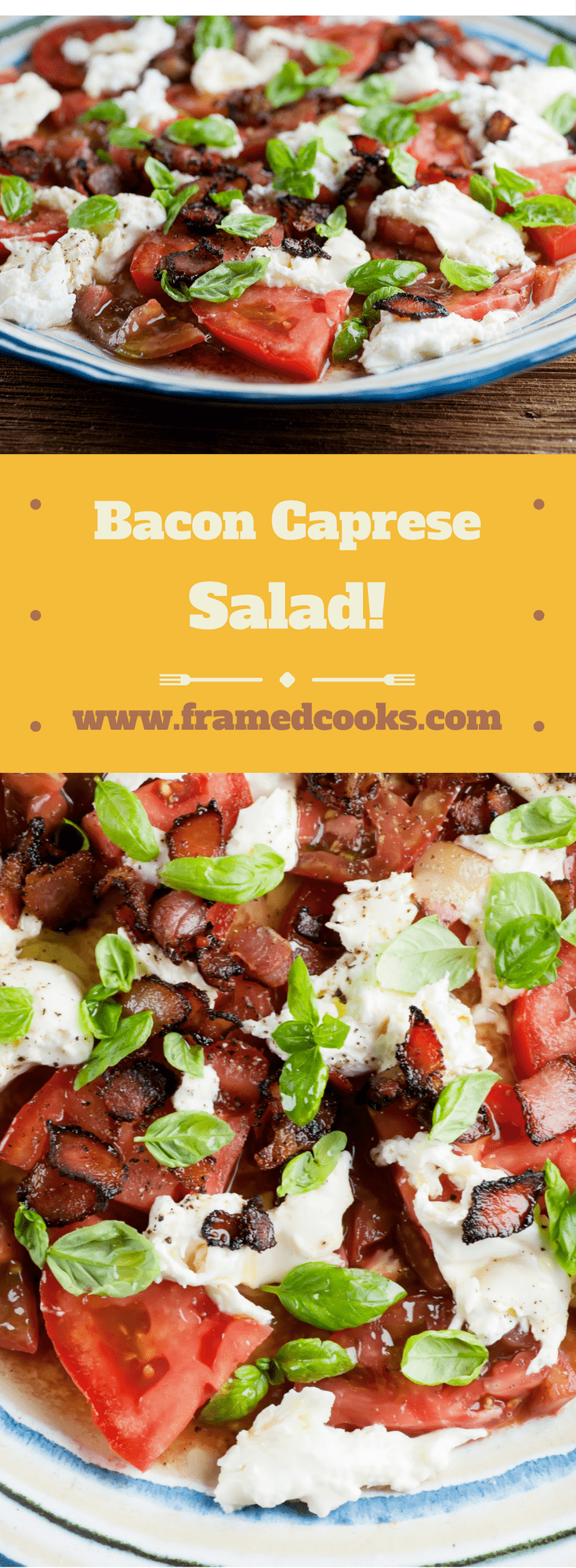 Grab some bacon, tomatoes, cheese and basil and you are all set to make the wonder that is this summertime bacon caprese salad recipe!