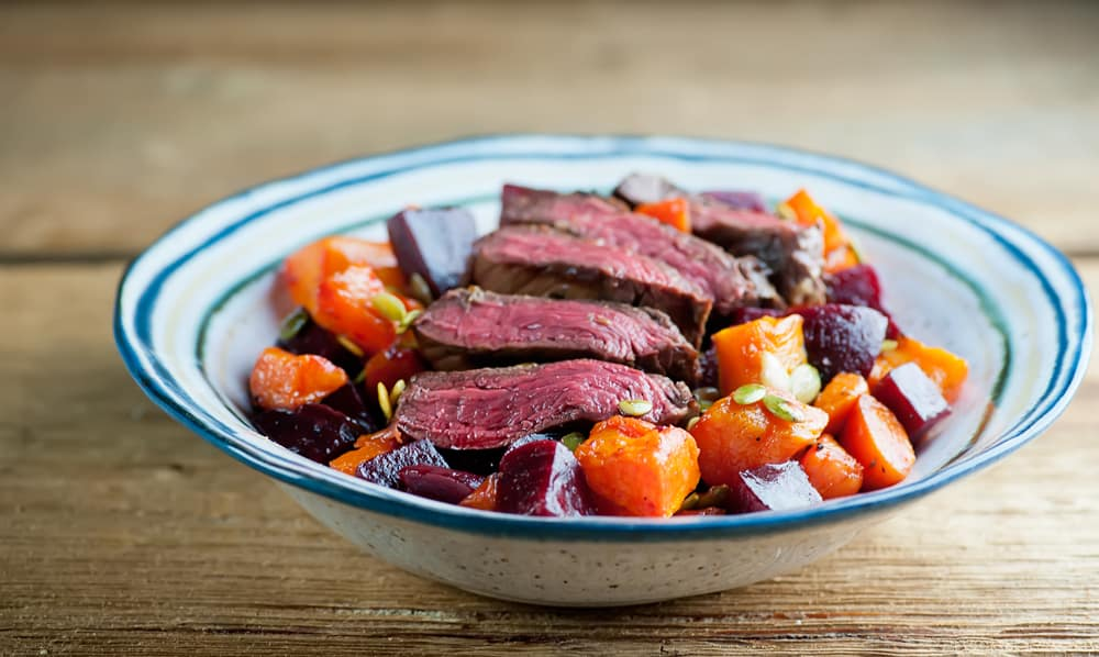 Butternut and Beet Steak Salad