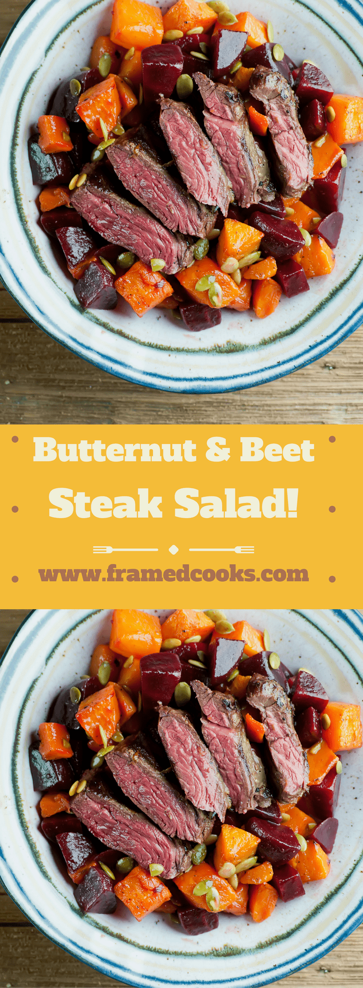 This easy recipe for butternut and beet steak salad is full of hearty fall flavors, perfect for those  early autumn suppers.