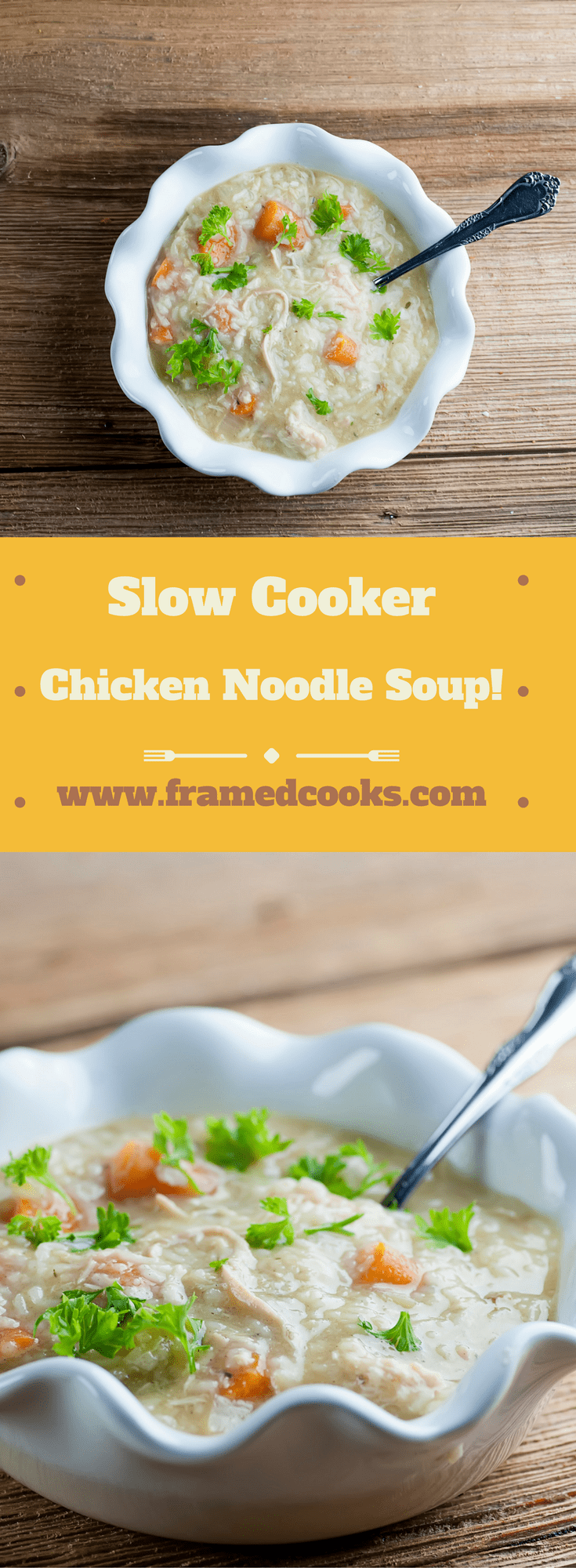 Everyone's favorite soup is even easier with this recipe for slow cooker chicken noodle soup.  Can you say soup comfort food?