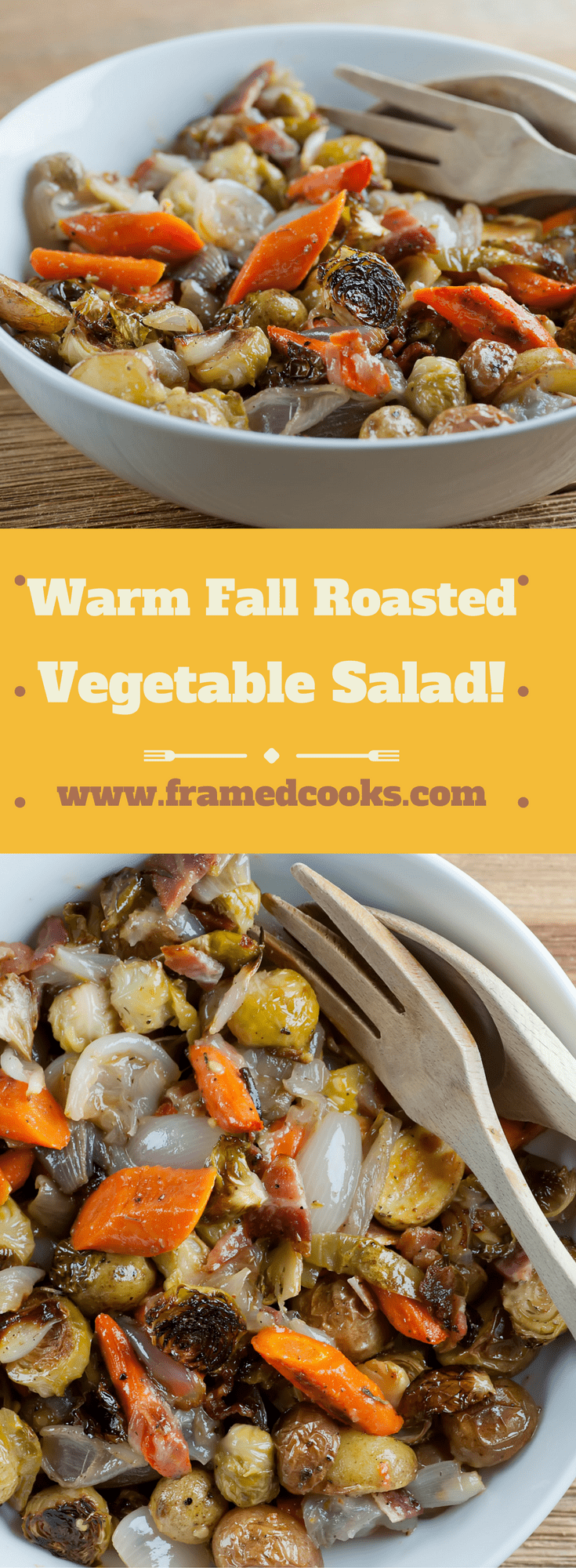 This simple recipe for warm roasted fall vegetable salad has all the flavors and colors of autumn, tossed with a little bacon!