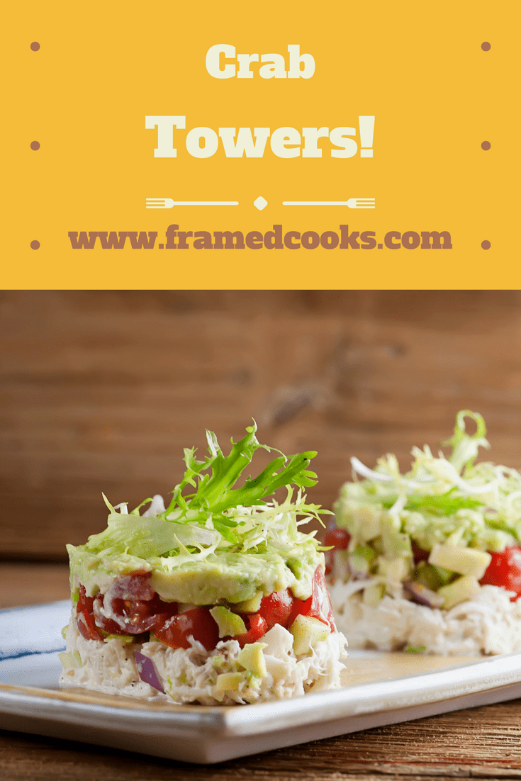 This recipe for crab towers is your answer to the easy to make but super dramatic appetizer or first course.  Or for a fancy light lunch!