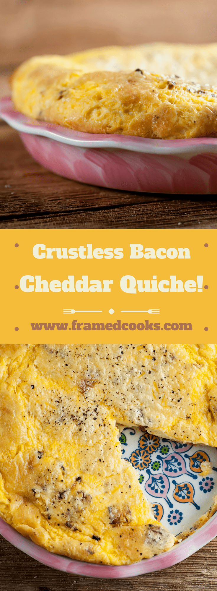 Lose the crust and keep the flavor with this easy recipe for a light and airy crustless bacon cheddar quiche.  A perfect delicious brunch dish!