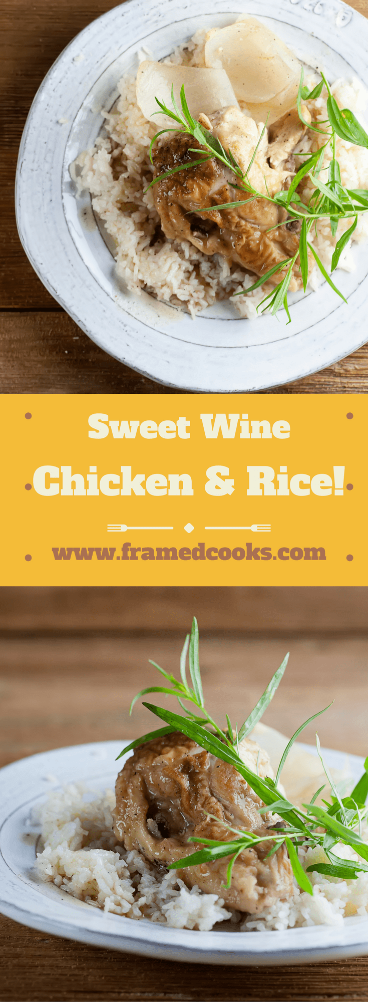 This easy recipe for sweet wine chicken and rice takes this comfort food supper classic to a new level of elegance with the addition of wine and tarragon.