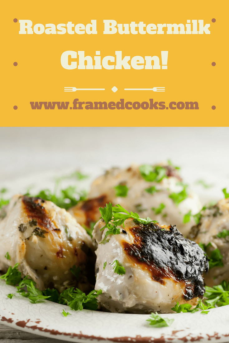 This easy recipe for roasted buttermilk chicken is a great way to make super tender, super flavorful chicken with only a few ingredients!