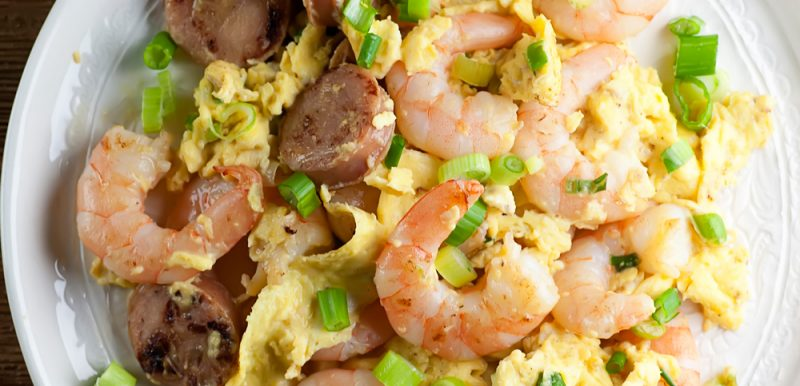 Shrimp and sausage scramble