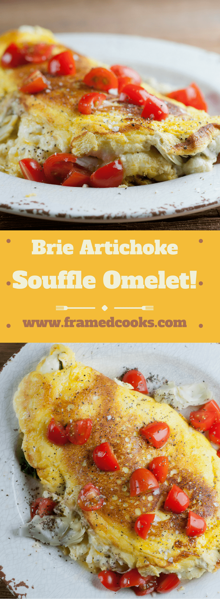 Wow them for breakfast with this easy and decadent recipe for a Brie artichoke souffle omelet!  Full of cheese and simple to make on your stovetop.