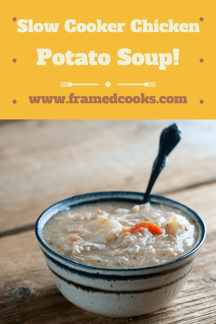 This easy recipe for slow cooker chicken potato soup is packed with veggies and is a snap to make in your trusty Crockpot.