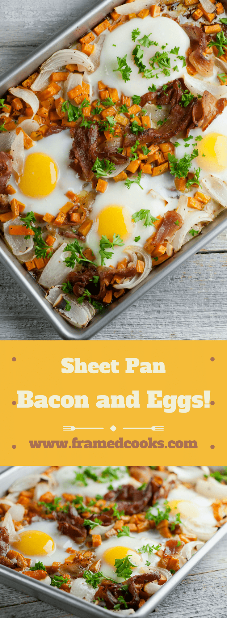 This easy recipe for sheet pan bacon and eggs is a great way to fix breakfast or brunch for a crowd.  The sweet potatoes and onions round out this healthy meal.