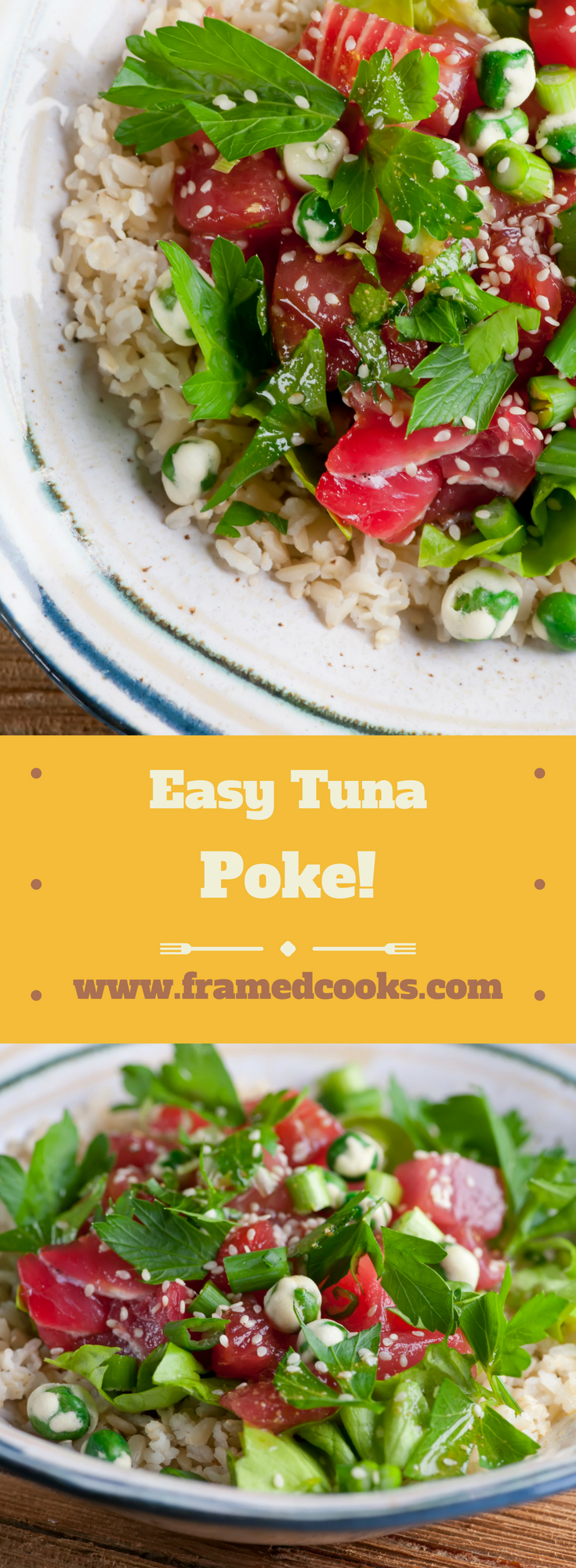 This easy recipe for tuna poke is the perfect and quick way to get delicious seafood dinner on the table.  A fun alternative for all you sushi lovers out there!