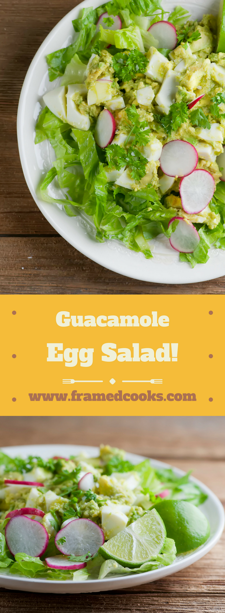 Lighten up your lunch by swapping out the mayo for avocado in this easy recipe for guacamole egg salad! Cheery radishes give this easy dish just the right amount of sass.