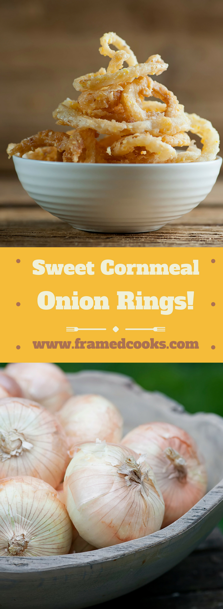 This easy recipe for sweet cornmeal onion rings uses slender slices of Vidalia onions in a cornmeal coating for the lightest and most flavorful onion rings ever.  Bet you can't eat just one!