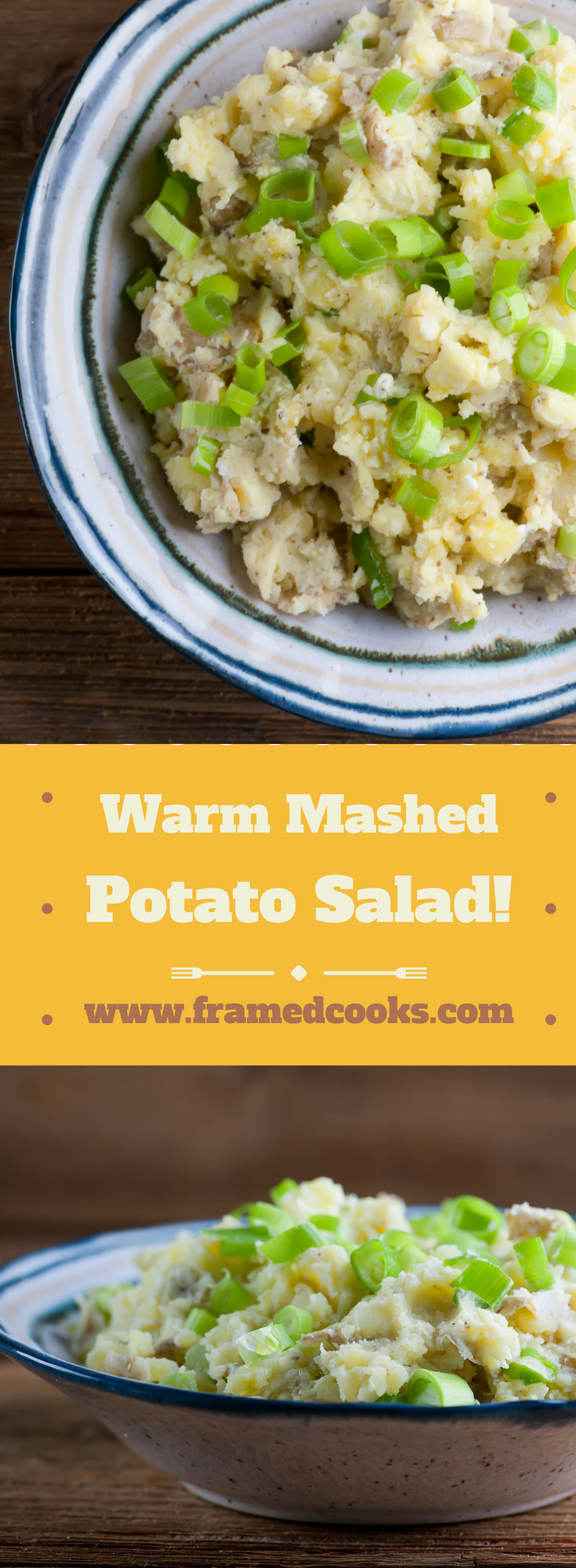 Warm mashed potato salad combines the tangy taste of classic potato salad with the comforting consistency of warm mashed potatoes.  Meet your new favorite summer side dish!