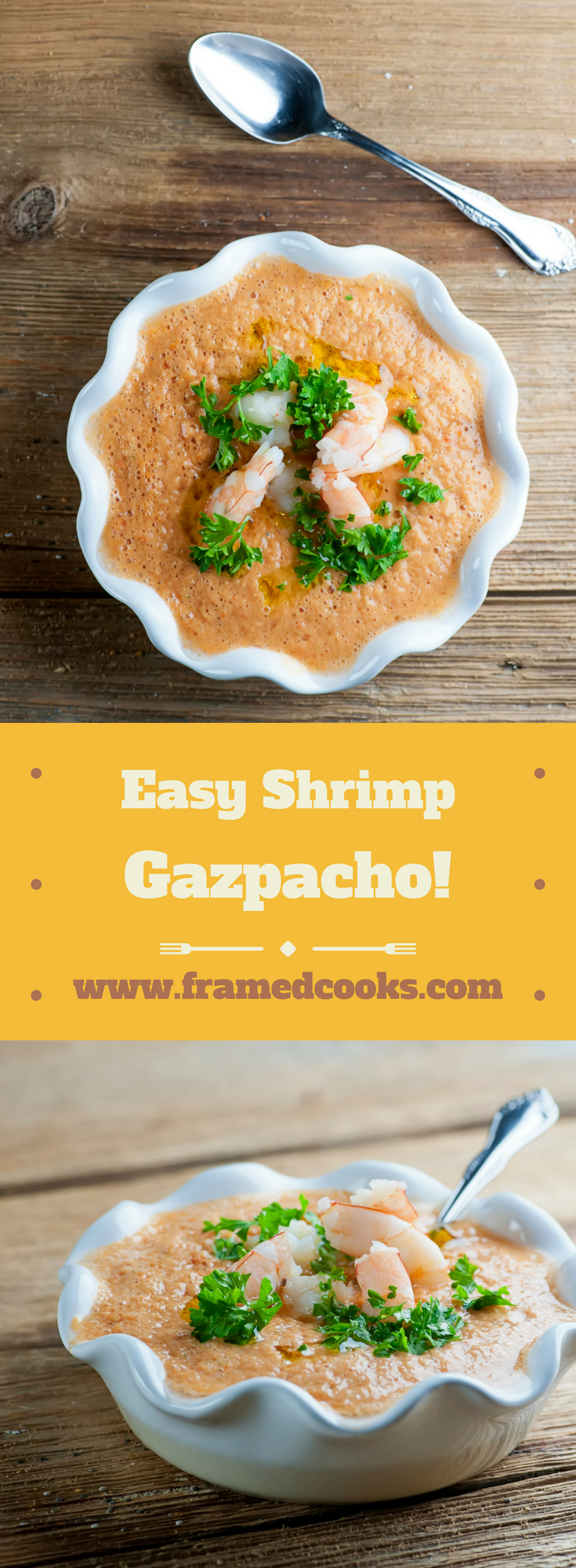 This quick recipe for easy shrimp gazpacho is a perfect summer lunch or light supper when you want a cool, refreshing and delicious soup.
