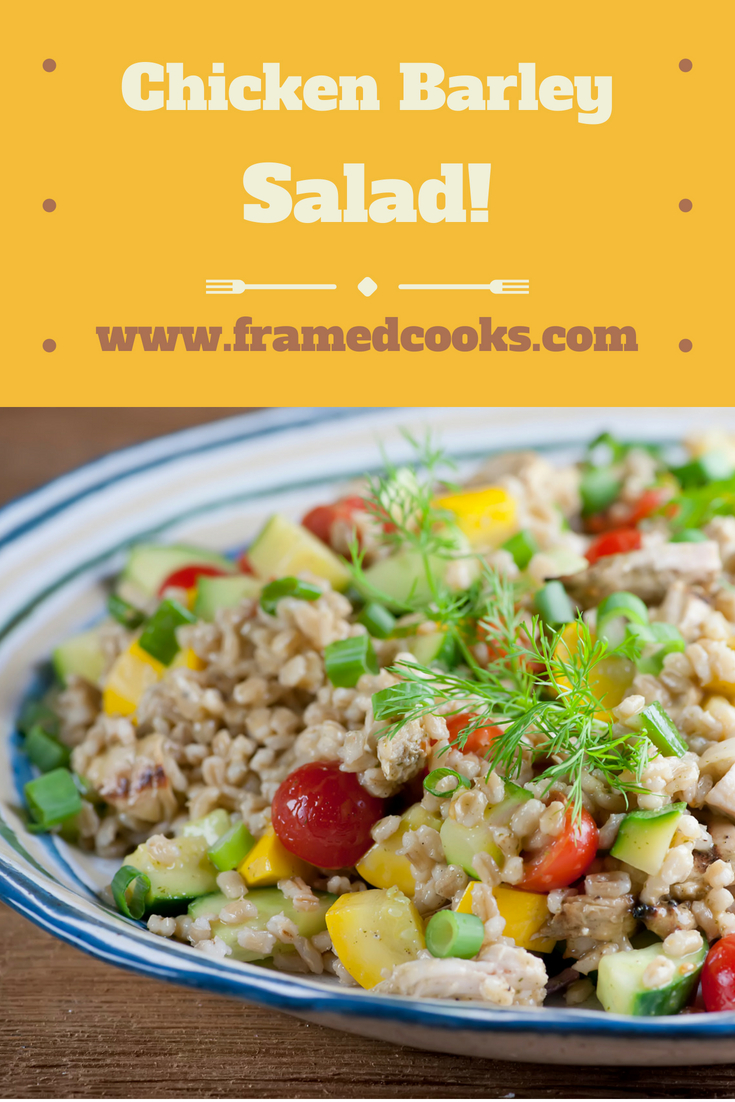 This easy recipe for chicken barley salad is full of healthy and delicious veggies and can be served warm or at room temperature.   The perfect all season dish!