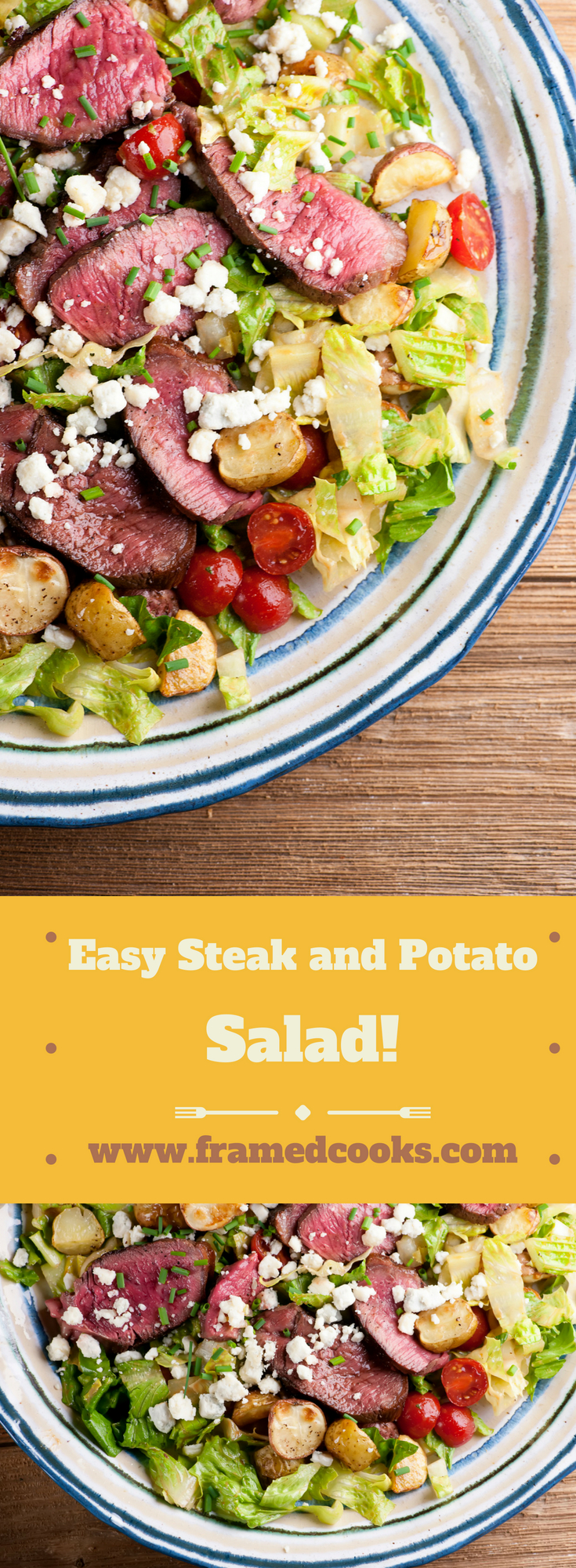 This recipe for easy steak and potato salad takes meat and potatoes into a lighter, delicious salad form!  A sprinkle of blue cheese and some cherry tomatoes round out this satisfying supper.