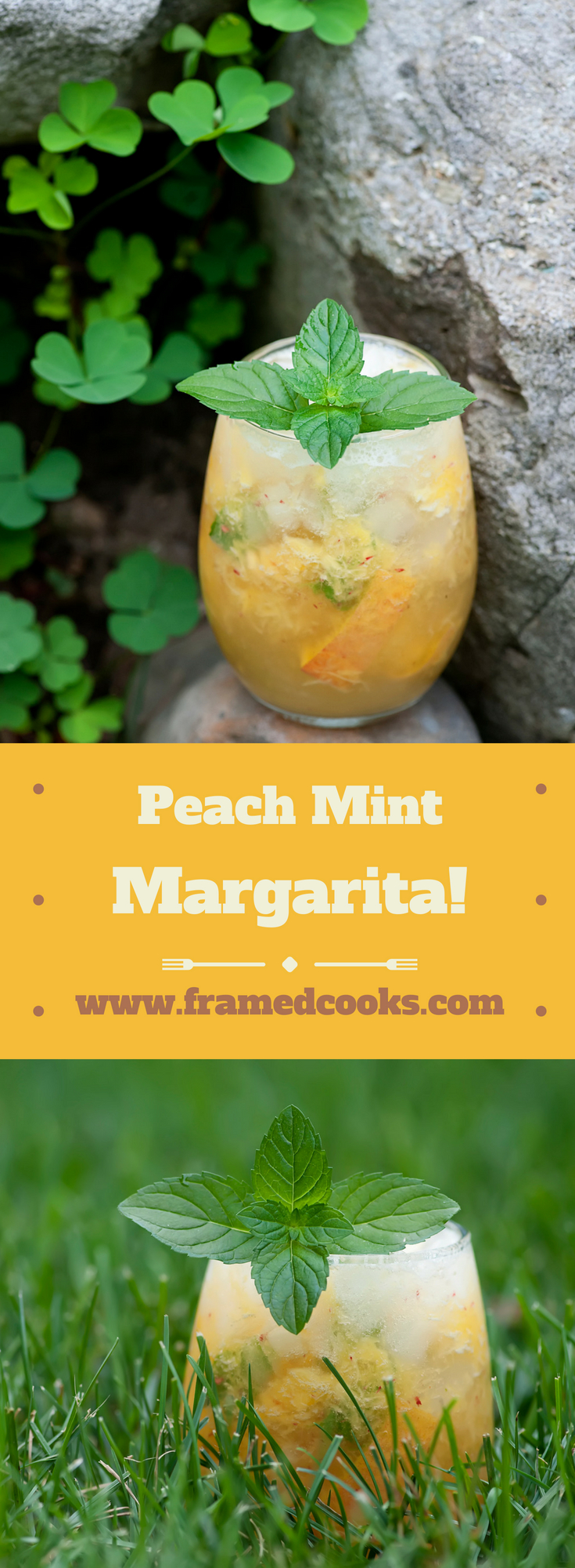 Say cheers to summertime with this easy recipe for a peach mint margarita.  Welcome to your new favorite warm weather cocktail!